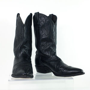Dan Post Boots Black Embroidered Leather Slip On